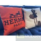HERMES HORSE ORANGE DESIGNER THROW PILLOW