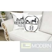 HERMES HORSE WHITE DESIGNER THROW PILLOW
