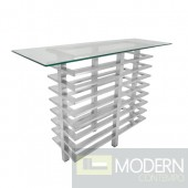 LeClair Stacked Console Table With Silver Finish