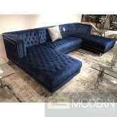 3Pc Bellissimo Blue velvet Sectional sofa