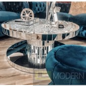 Solazzo round mirror coffee table with crystals