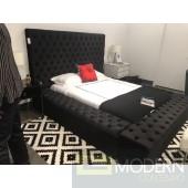 Hermes Queen black Velvet Bed with storage in footrest & side rails