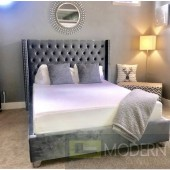 Asher Grey Velvet Platform Bed OPEN BOX