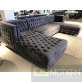 3Pc Bellissimo Grey velvet Sectional sofa