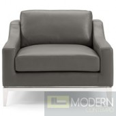 Enzo Stainless Steel Base Leatherchair in  Grey
