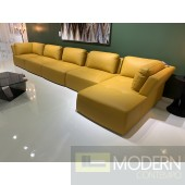 Zola 6Pc Yellow Leather Modular Sectional