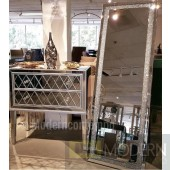 "Galaxy 22"" Contemporary Standing Full Length Clear Crystal Mirror"