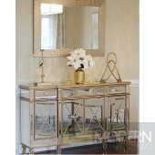 "48"" Take Me to Paris Mirror 4 Door Cabinet ANTIQUE GOLD"