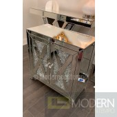 "Anzia 28"" Crystal Mirrored 2 Door Cabinet"