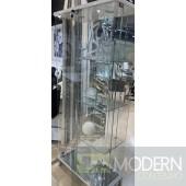 Bergdorf Contemporary Clear Glass Chrome Curio