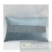 Light Blue Lavish Rhinestone Strip Pillow