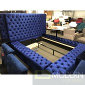 Hermes Queen BLUE Velvet Bed with storage in footrest & side rails BLUE