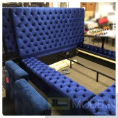 Hermes KING BLUE Velvet Bed with storage in footrest & side rails BLUE