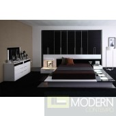 The Muse Contemporary Lacquer Platform Bed with LED Lights