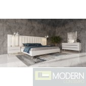 Castiglioni - Italian Modern White Eco Leather Bed w/ Nightstands and Wings