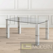Koyi Glass top with Hand Polised Stainless Steel Base Dining table