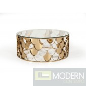 Argento Modern Glass & Gold Round Coffee Table