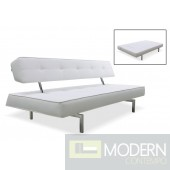 Divani Casa Coolidge Modern White Leatherette Sofa Bed