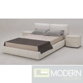 B88 White Full Leather Bed