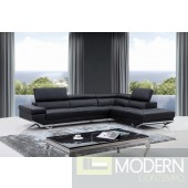 Divani Casa Quebec Modern Black Leather Sectional Sofa