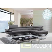 Divani Casa Quebec Modern Grey Leather Sectional Sofa