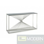 Trinity Modern Glass & Stainless Steel Console Table