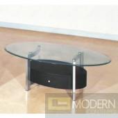 Karina Glass Coffee Table with Wood Drawer