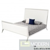 Saxo white leatherette platform bed