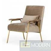 Hebe - Glam Beige and Gold Fabric Accent Chair