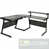 L Desk, Black w/ Smokey Grey Glass