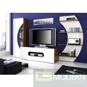 Modern TV Wall Unit in Cherry-Black or white Color. Unit Made in Italy.