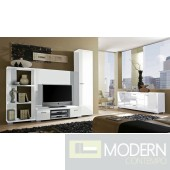Modern White high gloss lacquer finish TV Wall Unit . Made in Italy.MCVACT1