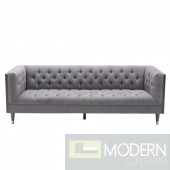 Veria Sofa in Gray Wash Wood finish with Shiny Silver legs caps and Mist Fabric upholstery