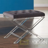 Crixus Modern and Contemporary Tufted Ottoman in Grey Velvet with Acrylic Legs
