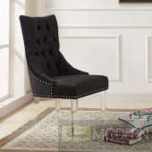 Galiano Modern and Contemporary Tufted Dining Chair in Velvet with Acrylic Legs