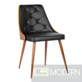 Florina Mid-Century Dining Chair in Walnut Wood and Black PU