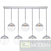 Solar 7 Lights Chrome Pendant With Clear Glass