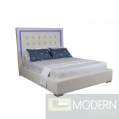 Captain white leatherette platform bed with Crystals and blue LED light