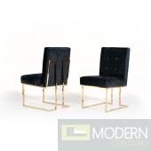 Vera Modern Black Fabric & Gold Dining Chair (Set of 2)