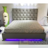 LoLa Grey or white leatherette platform bed with blue LED light,spotlight and USB port