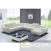 Davenport Leather sectional sofa OFF WHITE
