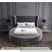 Baroness Round Storage GREY Velvet Tufted Bed OPEN BOX LOCAL DMV DEALS