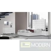 Modrest Lyrica - White Leather Tall Headboard Bed