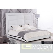 Madox white leatherette platform bed with Tall headboard.