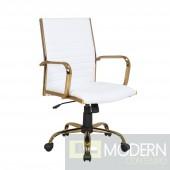 Caspian White & gold Office chair
