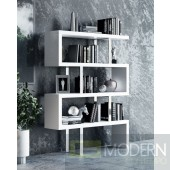 labyrinth Modern White High Gloss Bookcase