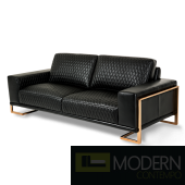 Mia Bella Gianna Leather Standard Sofa in Black RoseGold