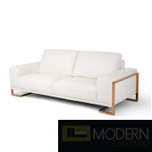 Mia Bella Gianna Leather Standard Sofa in White RoseGold