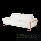 Mia Bella Gianna Leather Standard Sofa in White RoseGold