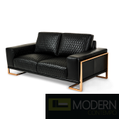 Mia Bella Gianna Leather Standard Loveseat in Black RoseGold